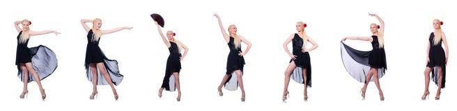 A dança da mulher isolada no branco Fotos de Stock Royalty Free