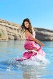 Dança da mulher na água Fotos de Stock Royalty Free