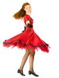 Dança da mulher no vestido vermelho fotografia de stock royalty free