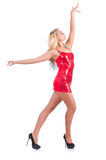 Dança da mulher no vestido vermelho Fotos de Stock Royalty Free