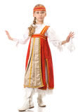Dança da rapariga no vestido nacional Imagens de Stock Royalty Free