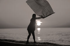 Dança da senhora com uma bandeira Imagem de Stock