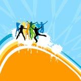 Dança das silhuetas Imagens de Stock