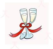 Dança de dois vidros de Champagne Imagens de Stock