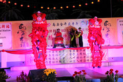 Dança de leão com cilindro da porcelana Foto de Stock