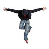 Dança de ruptura do homem isolada no fundo branco imagens de stock royalty free