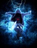Dança de ruptura do homem no fundo da luz da eletricidade fotos de stock royalty free