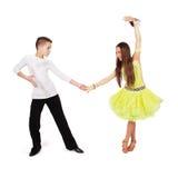 Dança de salão de baile da dança do menino e da menina fotografia de stock royalty free