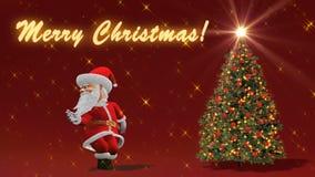 Dança de Santa Claus perto da árvore de Natal O conceito do Natal e do ano novo Laço sem emenda ilustração stock