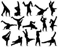 Dança diferente da silhueta Imagens de Stock Royalty Free