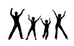 Dança do agregado familiar com quatro membros ilustração stock