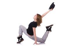 Dança do dançarino da mulher Fotografia de Stock