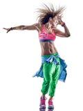 Dança do dançarino do zumba dos excercises da aptidão da mulher fotografia de stock