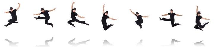 A dança do dançarino no branco Imagens de Stock Royalty Free