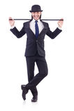 Dança do homem com vara de passeio Fotografia de Stock Royalty Free