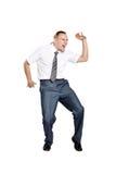 Dança do homem de negócios e gritar Imagens de Stock