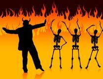 Dança do homem do diabo no inferno com incêndio e esqueletos ilustração stock