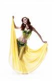 Dança do leste das danças bonitas da menina isolada em um whi Fotos de Stock Royalty Free
