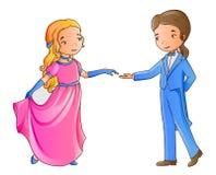 Dança do menino e da menina dos desenhos animados Fotos de Stock