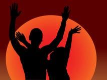 Dança do por do sol Imagens de Stock