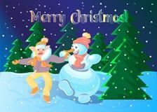 Dança do porco com um boneco de neve ilustração stock