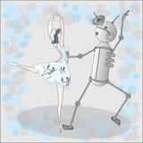 Dança do robô com ballerine Fotos de Stock Royalty Free