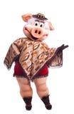 Dança do traje da mascote do porco no poncho Fotografia de Stock Royalty Free
