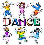Dança dos miúdos dos desenhos animados Imagens de Stock Royalty Free