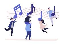 Dança dos povos à música com as notas musicais que flutuam no ar ilustração stock