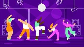 Dança dos povos no conceito liso do vetor do clube noturno ilustração do vetor