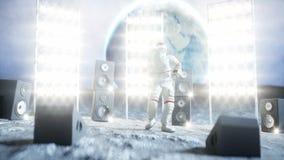 Dança engraçada do astronauta na lua Animação 4K realística filme