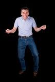 Dança engraçada do homem da Idade Média com sorrir forçadamente de queijo Imagens de Stock