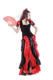 Dança espanhola tradicional do dançarino do flamenco da mulher Foto de Stock Royalty Free