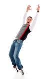 Dança feliz do homem novo Fotos de Stock Royalty Free