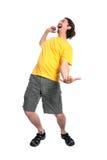 Dança feliz do homem novo Fotografia de Stock Royalty Free