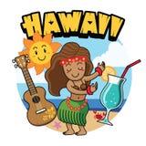 Dança havaiana da menina dos desenhos animados bonitos Fotos de Stock Royalty Free
