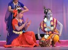 Dança indiana - krishna com gopikas Fotos de Stock Royalty Free