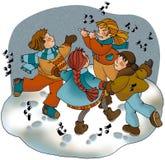 Dança na neve foto de stock