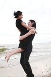 Dança na praia fotografia de stock royalty free