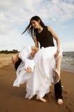 Dança na praia Fotos de Stock Royalty Free