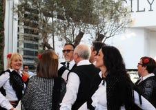 Dança popular siciliano na expo 2015 do local em Milão Imagens de Stock