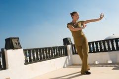 Dança praticando da ioga da mulher Fotos de Stock Royalty Free