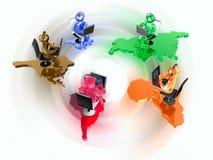 Dança redonda de homens de cor Imagem de Stock Royalty Free