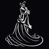Dança sensual romântica da dança bonita dos pares, fundo preto ilustração royalty free