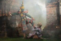 Dança tailandesa tradicional do drama da máscara de Khon Fotografia de Stock