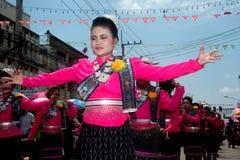 Dança tailandesa tradicional no festival 'Boon Bang Fai' de Rocket Foto de Stock Royalty Free