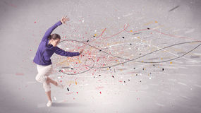 A dança urbana com linhas e chapinha Foto de Stock