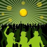 Dançando e silhuetas dos povos do canto Imagem de Stock Royalty Free