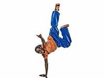 Dançarino acrobático da ruptura do hip-hop que breakdancing o pino do homem novo fotografia de stock royalty free