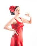 Dançarino bonito do flamenco no vestido vermelho Fotografia de Stock Royalty Free